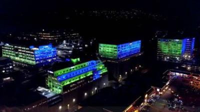 VIDEO: Bellevue T-Mobile campus lit up ahead of Seahawks game