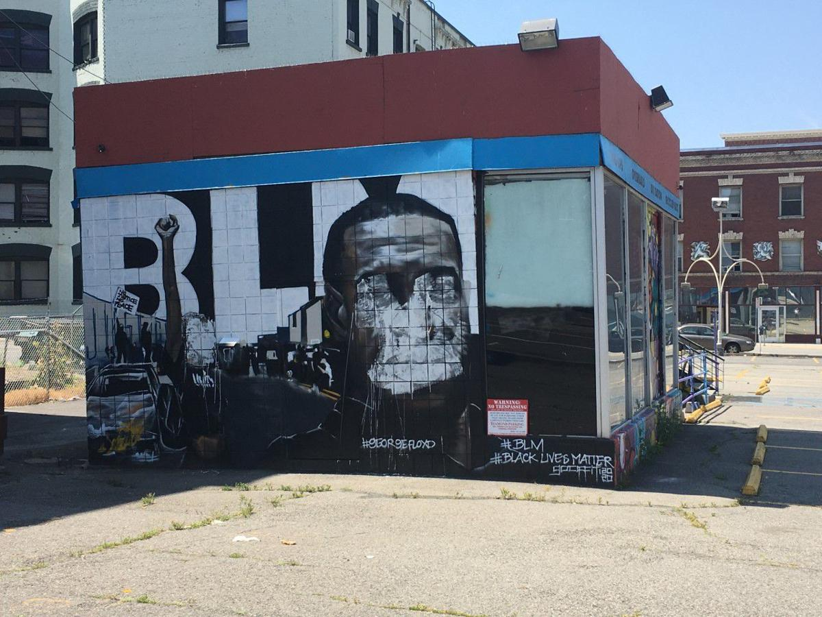 George Floyd mural in downtown Spokane defaced
