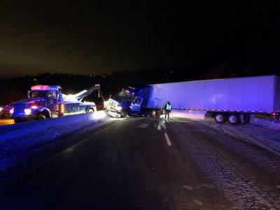 Semi crash east of I-90 blocking eastbound and westbound lanes