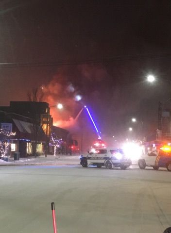 Selkirk Firefighters Battling Downtown Sandpoint Fire