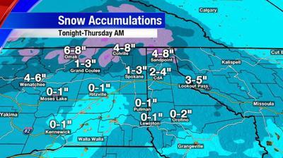Expected Snowfall Through Thursday Morning
