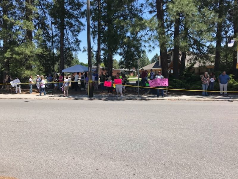 Protesters and supporters gather outside Drag Queen Story Hour June 15, 2019