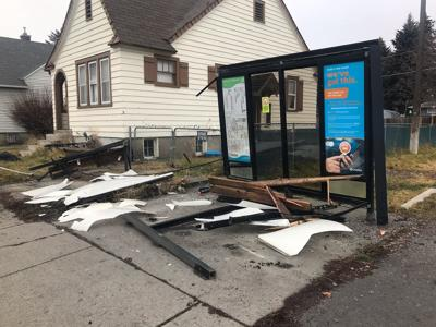 Vehicle hits bus stop, gas meter in Spokane Saturday
