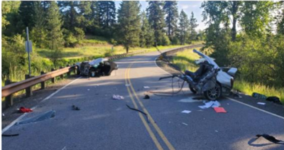 Teen hospitalized after Kootenai County crash that left vehicle in two pieces