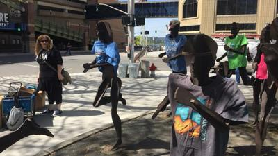 Bloomsday runner statues get festive