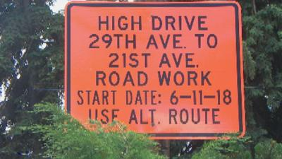 High Drive construction begins Monday