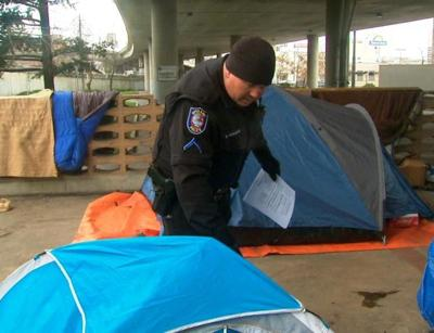 Police Serve Eviction Notice To Homeless 'Tent City,' But Offer Services To Those In Need