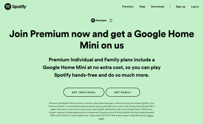 Spotify offering free Google Home Mini in promotion for Premium users