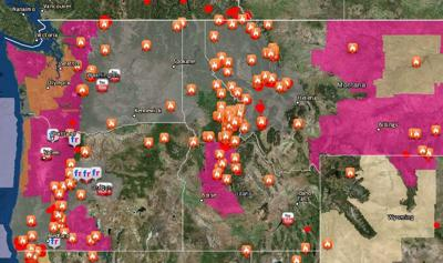 Spokane Wildfire Map.Where Is The Smoke Coming From Map Shows 74 Wildfires Burning In