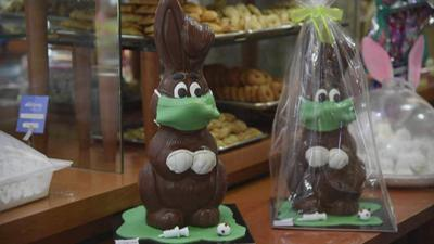 Pastry chef in Greece creates Easter Bunnies with face masks