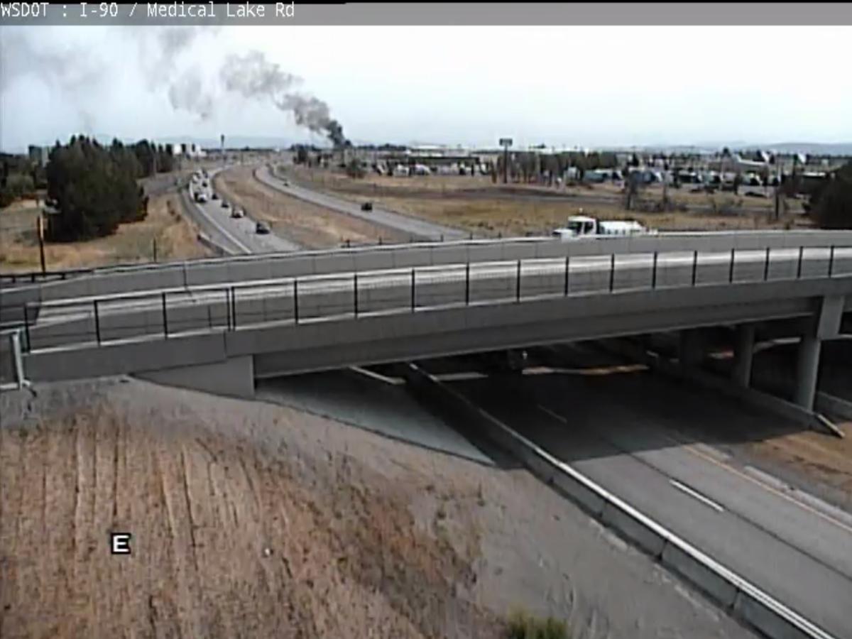 Smoke seen billowing from Spokane building near I-90 Geiger exit