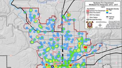 Spokane Wildfire Map.Compiled Data Helps Spokane Fire Department Pinpoint Wildfire Hot