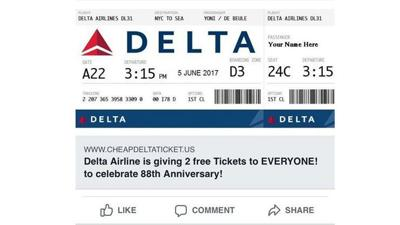 No, you will not get two free Delta tickets if you click on that link floating around Facebook