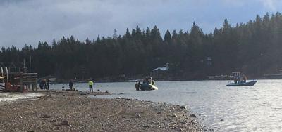 Car in Water in Spokane River in Post Falls