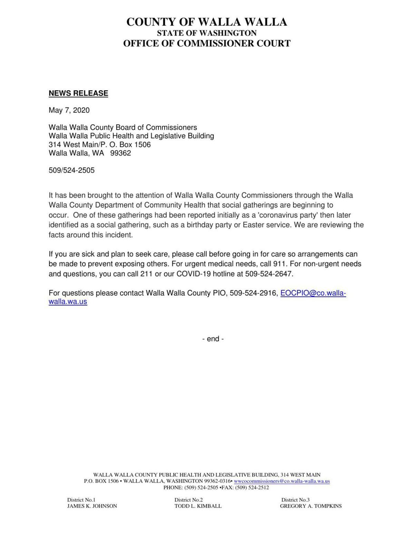 Walla Walla County Commissioners Press Release