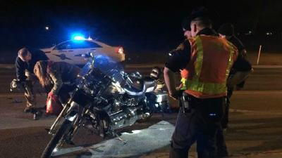 One man in hospital after motorcycle crash