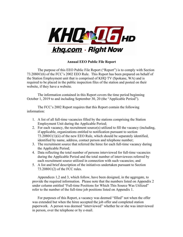 2020 KHQ Annual EEO Report