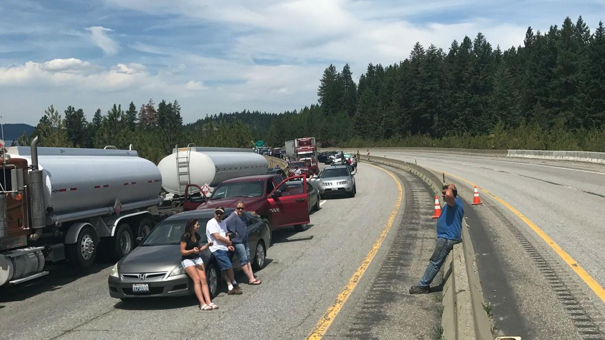 Multi-vehicle crash on I-90 east of Coeur d'Alene blocks
