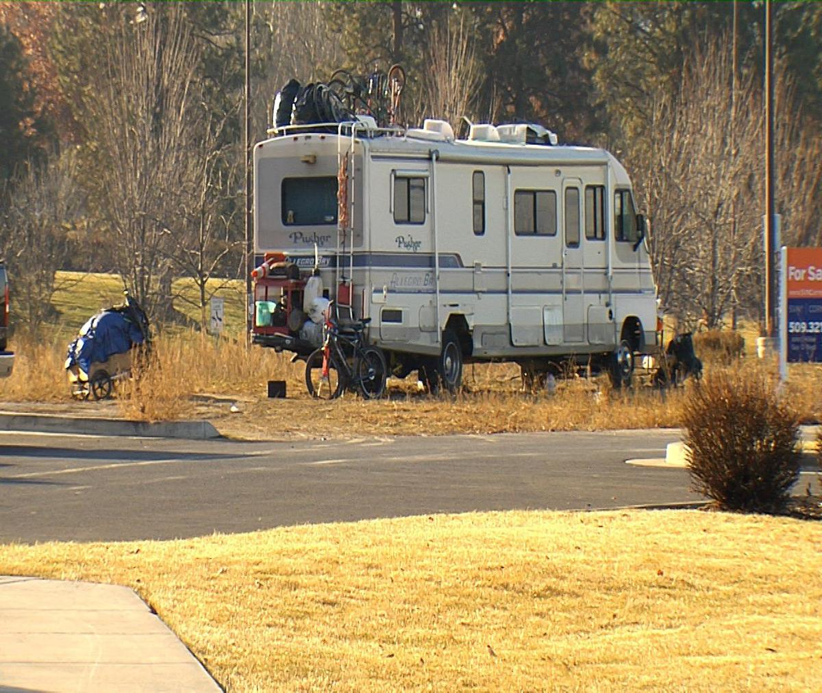 """KHQ Investigates: Business owners call campers at North Spokane parking lot a """"horrible homeless situation"""""""