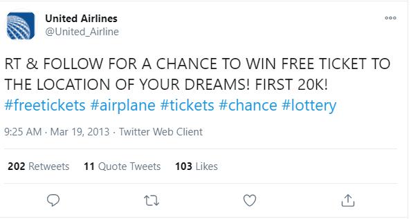 United airlines fake tweet