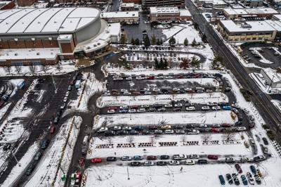 PHOTOS: Drone captures long, snaking lines on the first day of the Spokane mass vaccination site