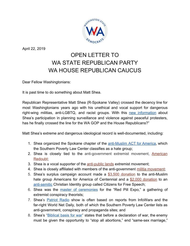 WA Dems open letter expel Shea