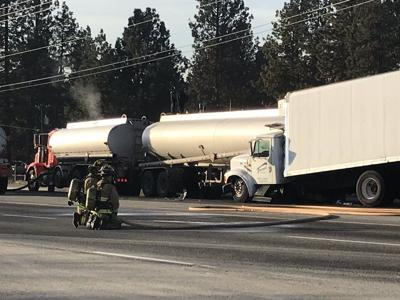 UPDATE: Northbound lanes are back open after major gas spill closes Sullivan near Indiana in Spokane Valley; southbound lanes are still closed