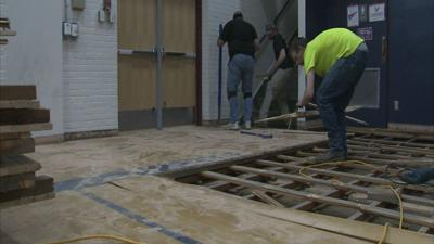 Lakes Middle School uses old gym floor for shop class