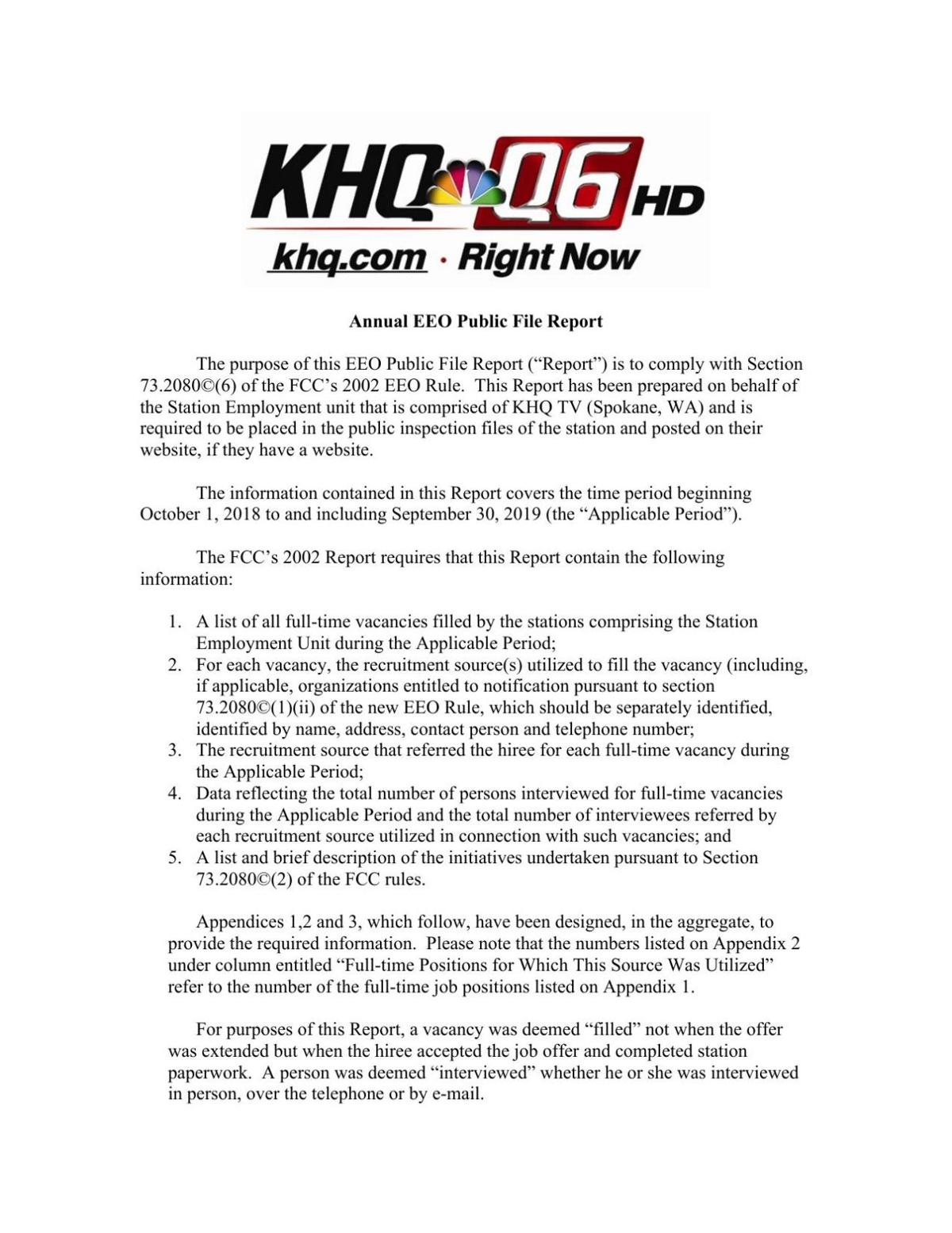 KHQ Annual EEO Public File Report 2019
