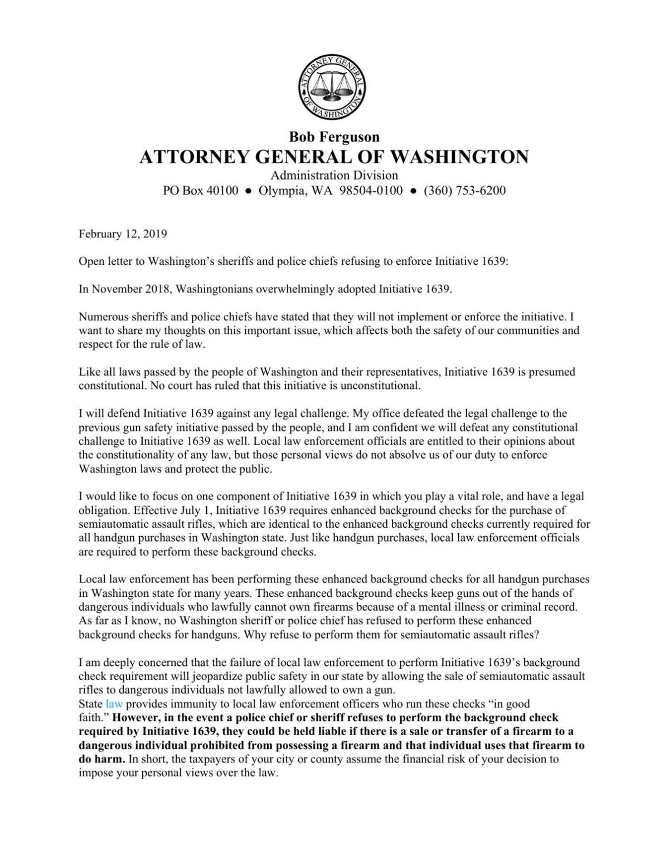 Attorney General Bob Ferguson's Open Letter to County Sheriffs