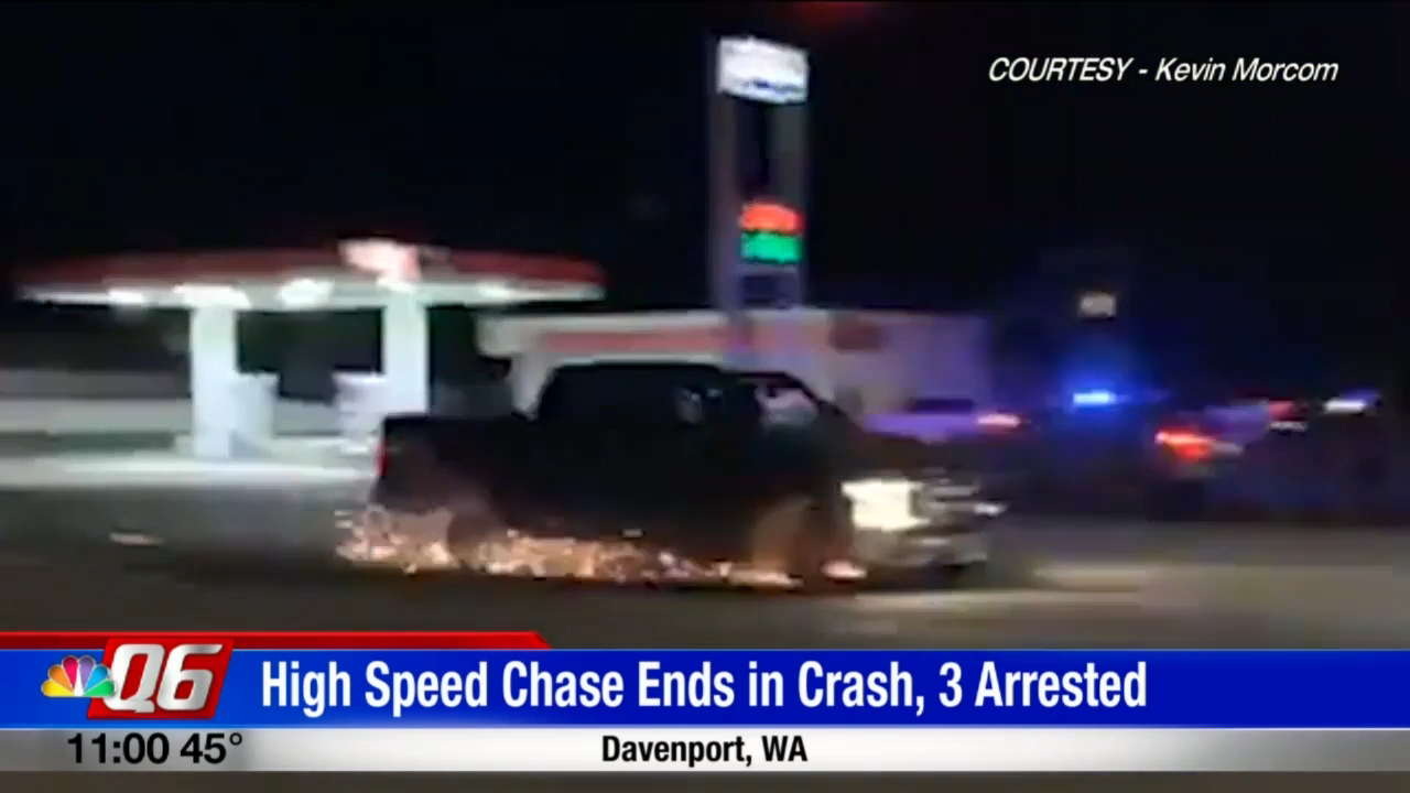 VIDEO:High-speed chase along Highway 2 ends with sparks near