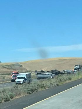 South lanes of Highway 395 closed 20 miles south of Ritzville due to crash