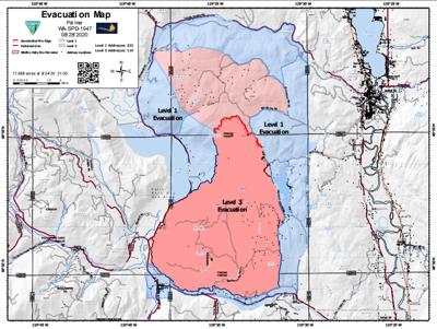 Palmer Fire evacuation map (8/28/2020)