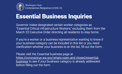 Washington state creates essential business clarification application