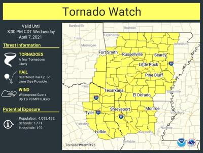 Tornado watch issued for East Texas through 8 p.m. Wednesday