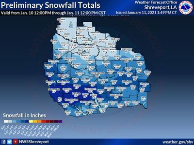 Kilgore area recorded 2 inches of snow, Liberty City got 5 inches