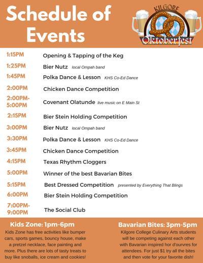 Kilgore Oktoberfest Schedule of Events