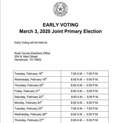 Rusk County Early Voting Schedule