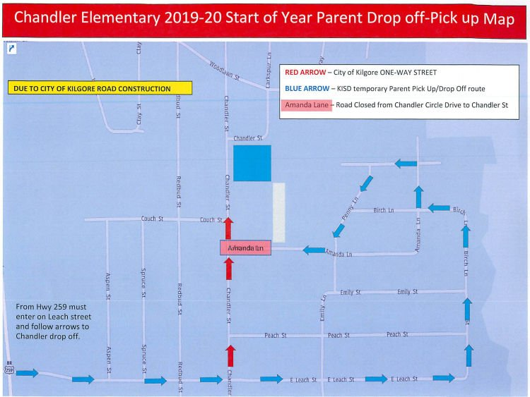 Chandler Street Project Detour Map