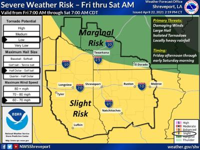 'Slight' risk of severe weather Friday into Saturday, National Weather Service says