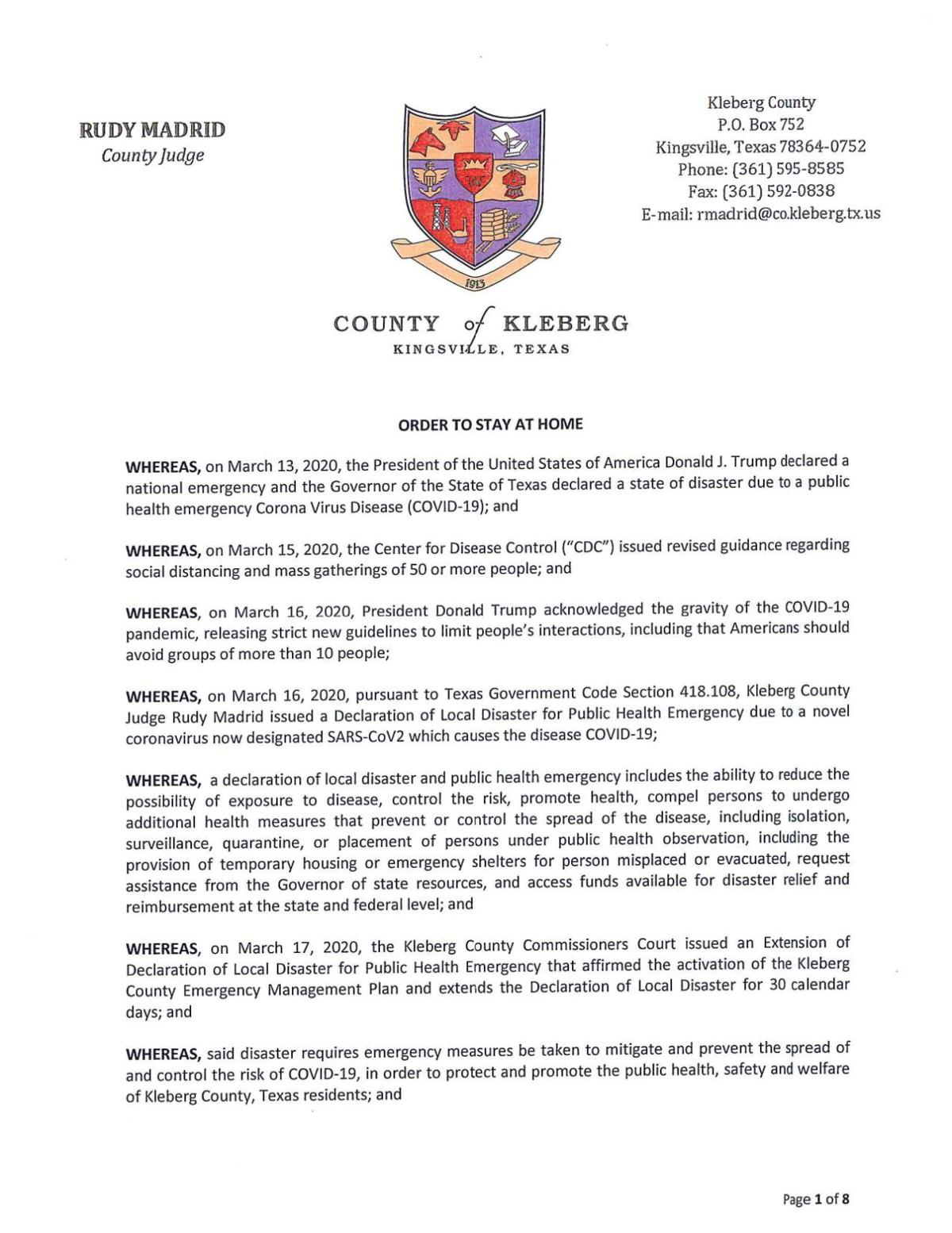 Kleberg County Order to Stay at Home