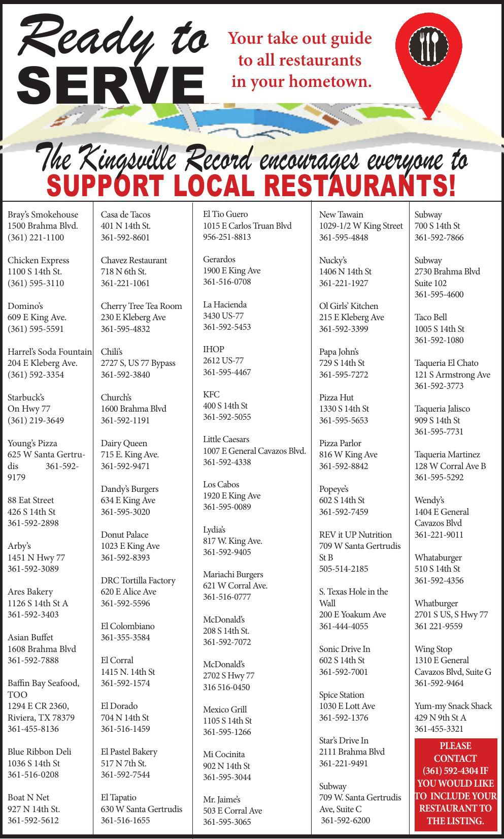 List of Local Restaurants in the area