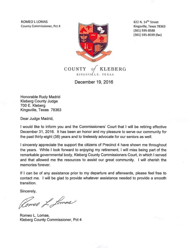 Romeo Lomas Retirement Letter  The Kingsville Record And Bishop