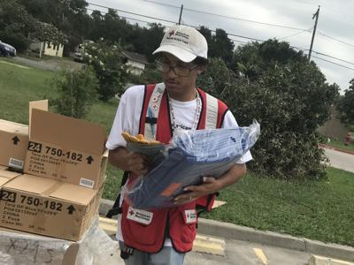 American Red Cross hand out supplies