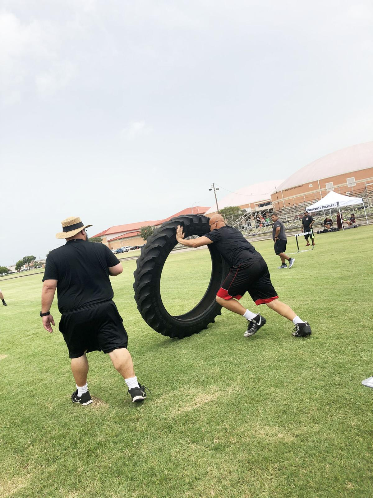 Tiger Perez on the Tire Flip relay