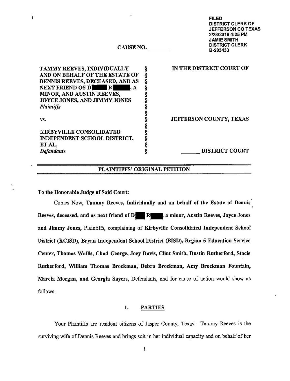 Dennis Reeves Wrongful Death Lawsuit