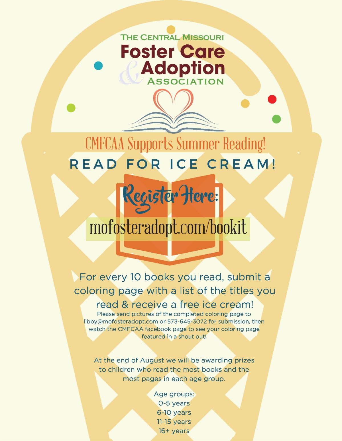 CMFCAA Summer Reading Ice Cream Program