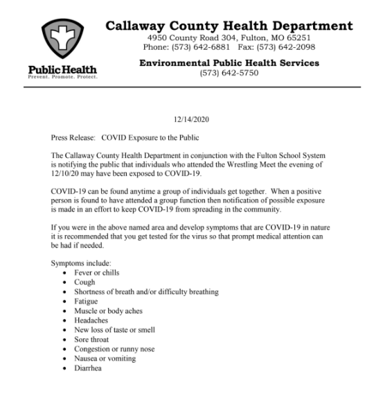 COVID-19 exposure reported at Fulton wrestling meet