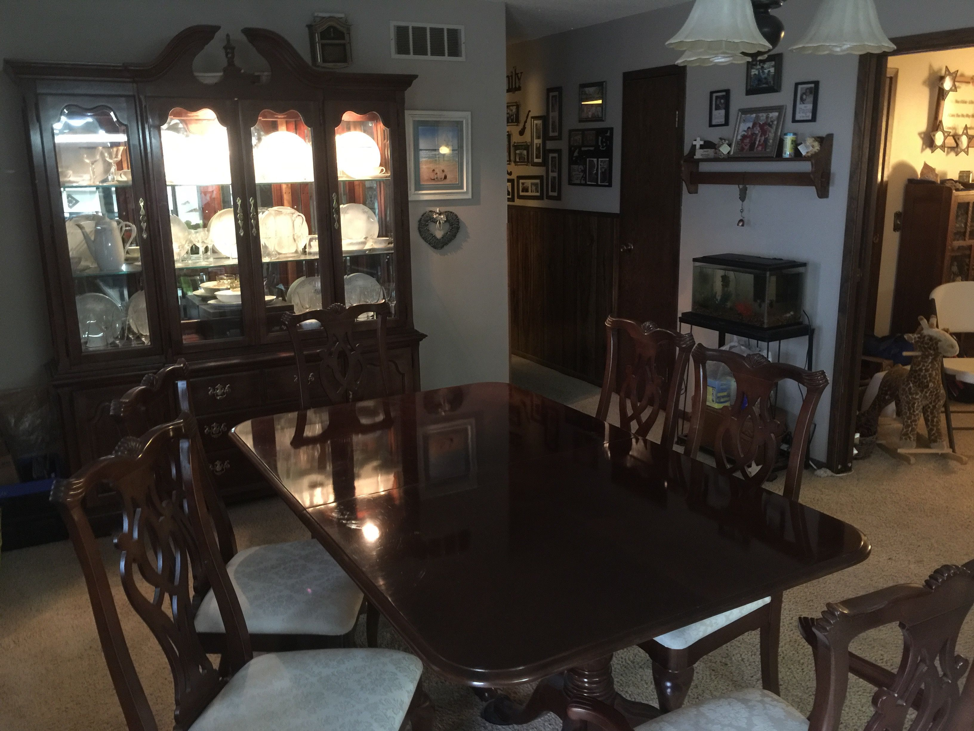 Thomasville Cherry Hutch And Dining Room Table With Chairs Image 1