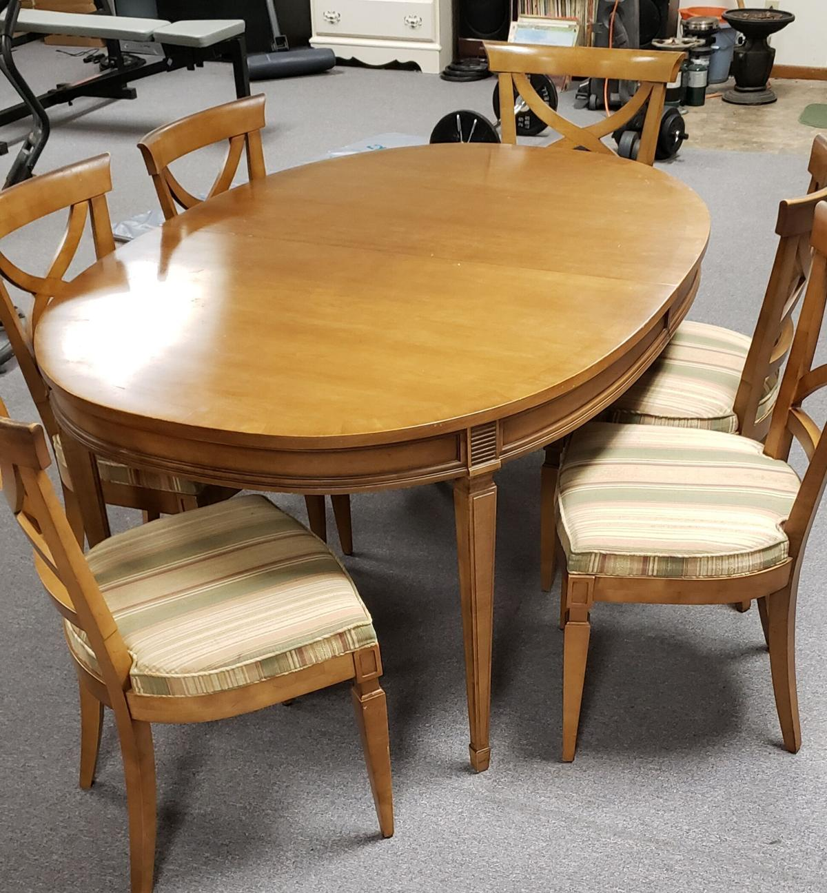Antique Table and 6 Chairs image 1